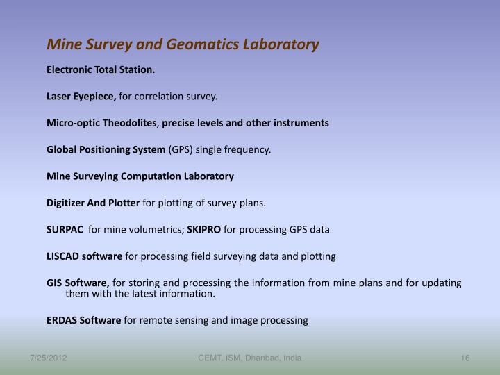 Mine Survey and Geomatics Laboratory