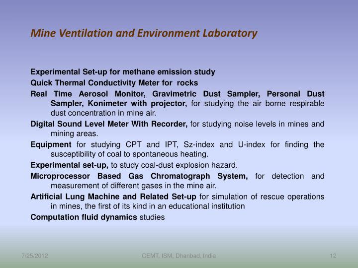 Mine Ventilation and Environment Laboratory