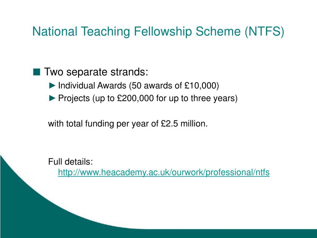 National Teaching Fellowship Scheme (NTFS)