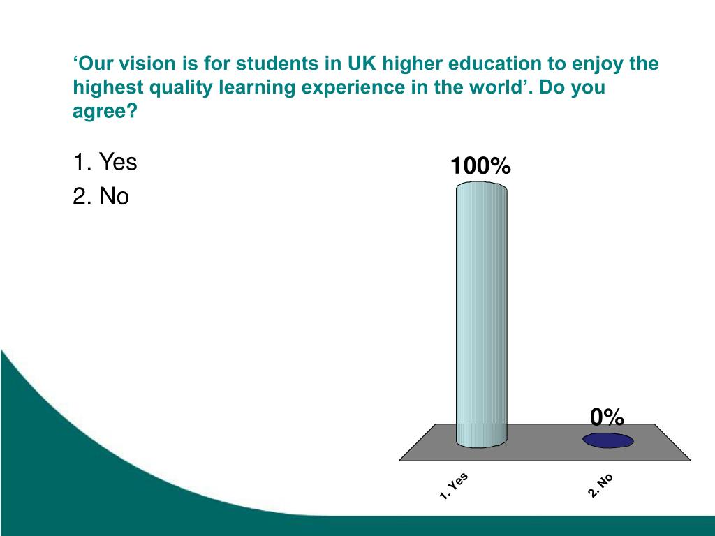 'Our vision is for students in UK higher education to enjoy the highest quality learning experience in the world'. Do you agree?