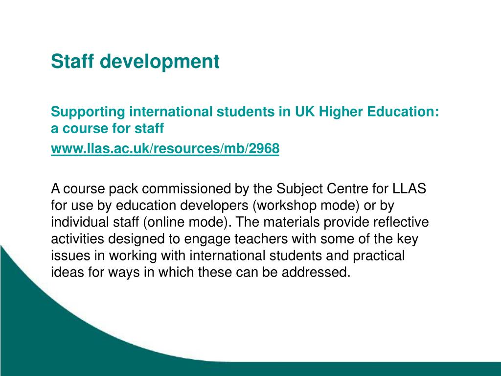 Supporting international students in UK Higher Education: a course for staff