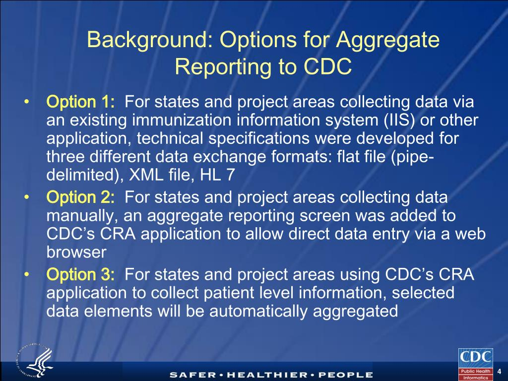 Background: Options for Aggregate Reporting to CDC