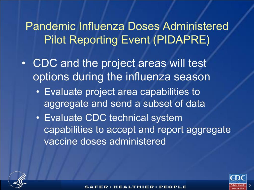 Pandemic Influenza Doses Administered Pilot Reporting Event (PIDAPRE)