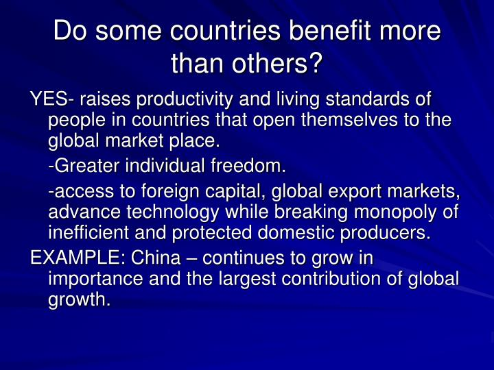 Do some countries benefit more than others?