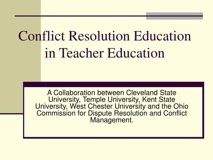 Conflict resolution education in teacher education