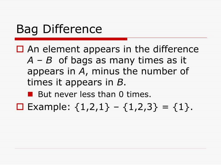 Bag Difference