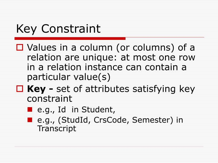 Key Constraint