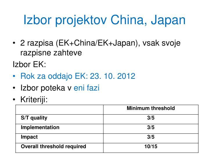 Izbor projektov China, Japan