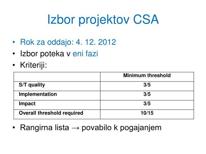 Izbor projektov CSA