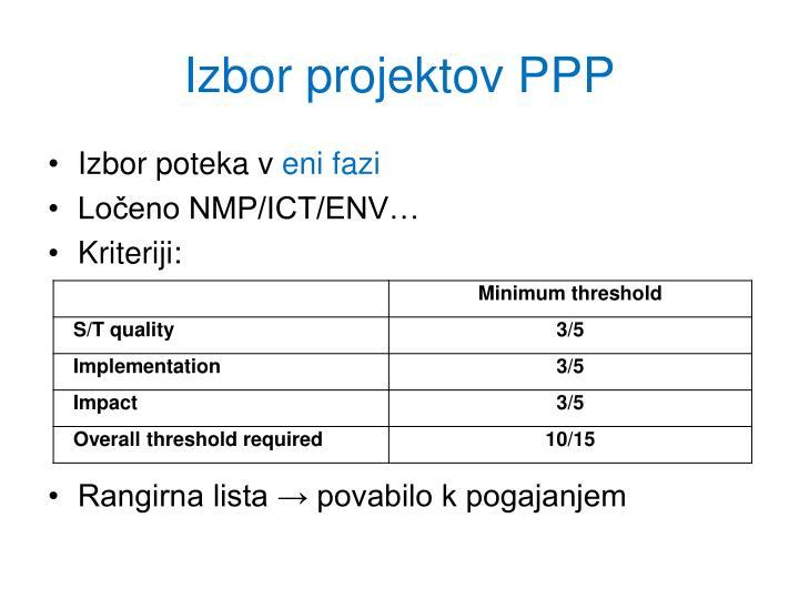 Izbor projektov PPP