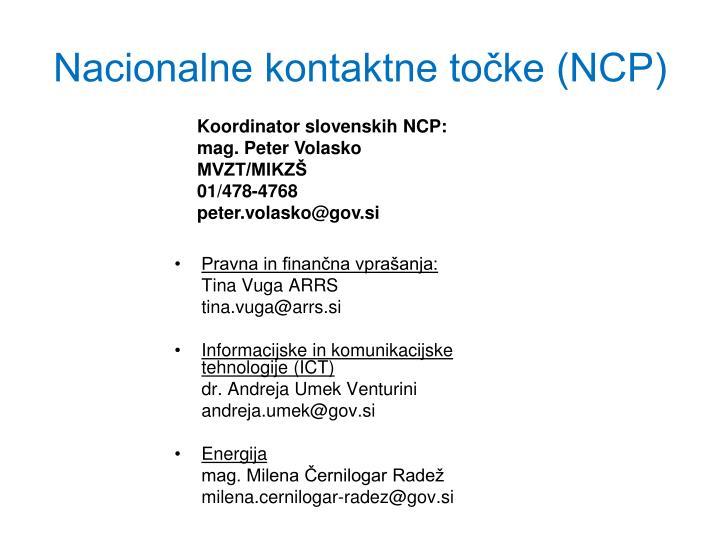 Nacionalne kontaktne točke (NCP)