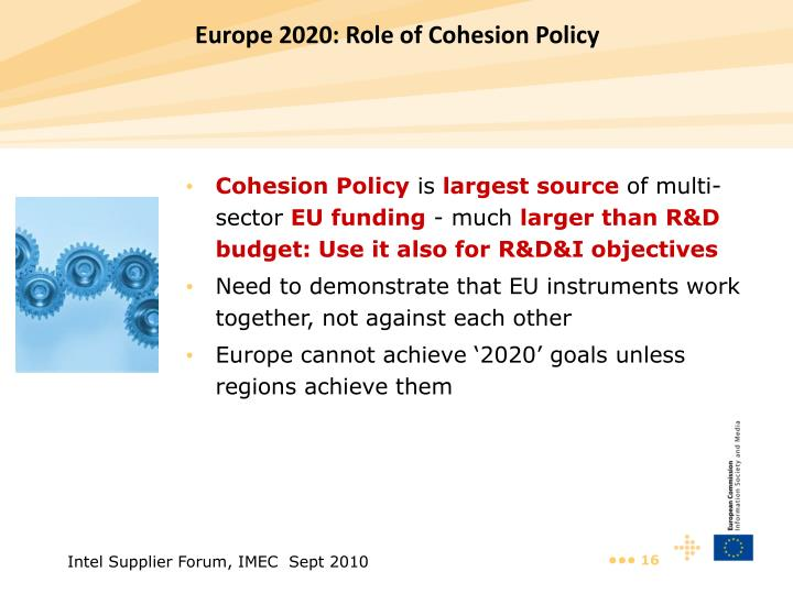 Europe 2020: Role of Cohesion Policy