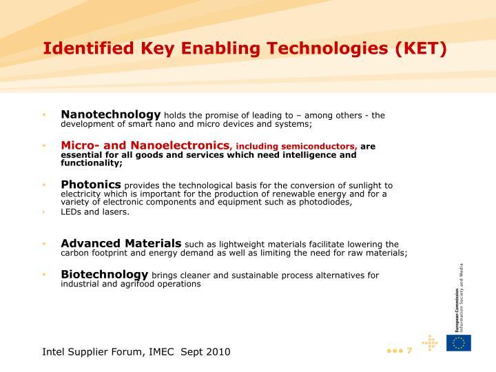 Identified Key Enabling Technologies (KET)