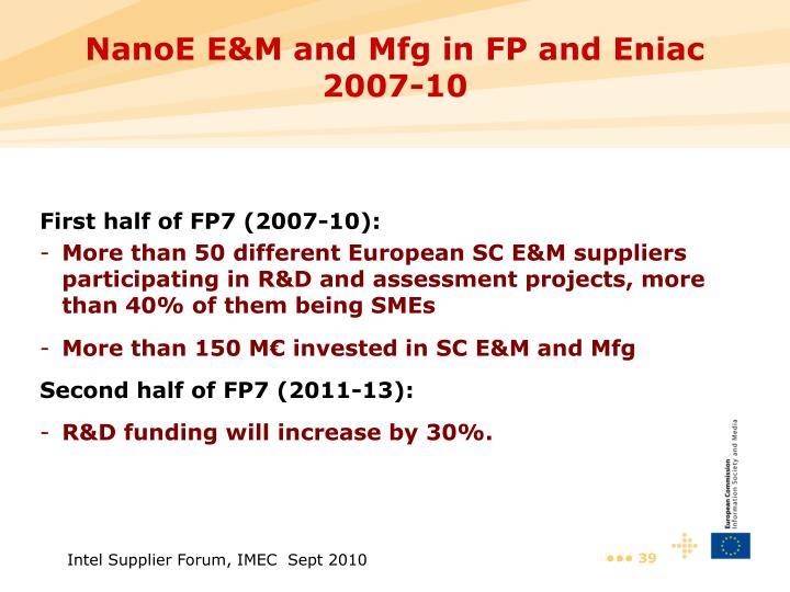 NanoE E&M and Mfg in FP and Eniac