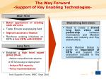 the way forward support of key enabling technologies