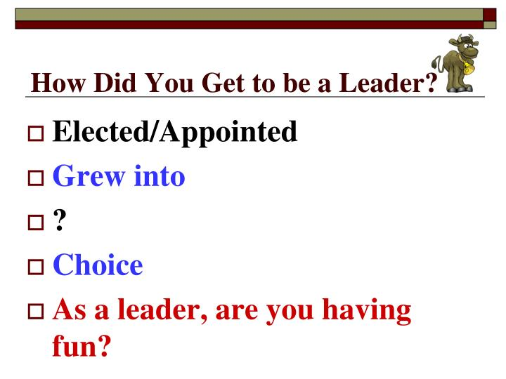 How did you get to be a leader