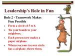 leadership s role in fun2