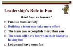 leadership s role in fun7