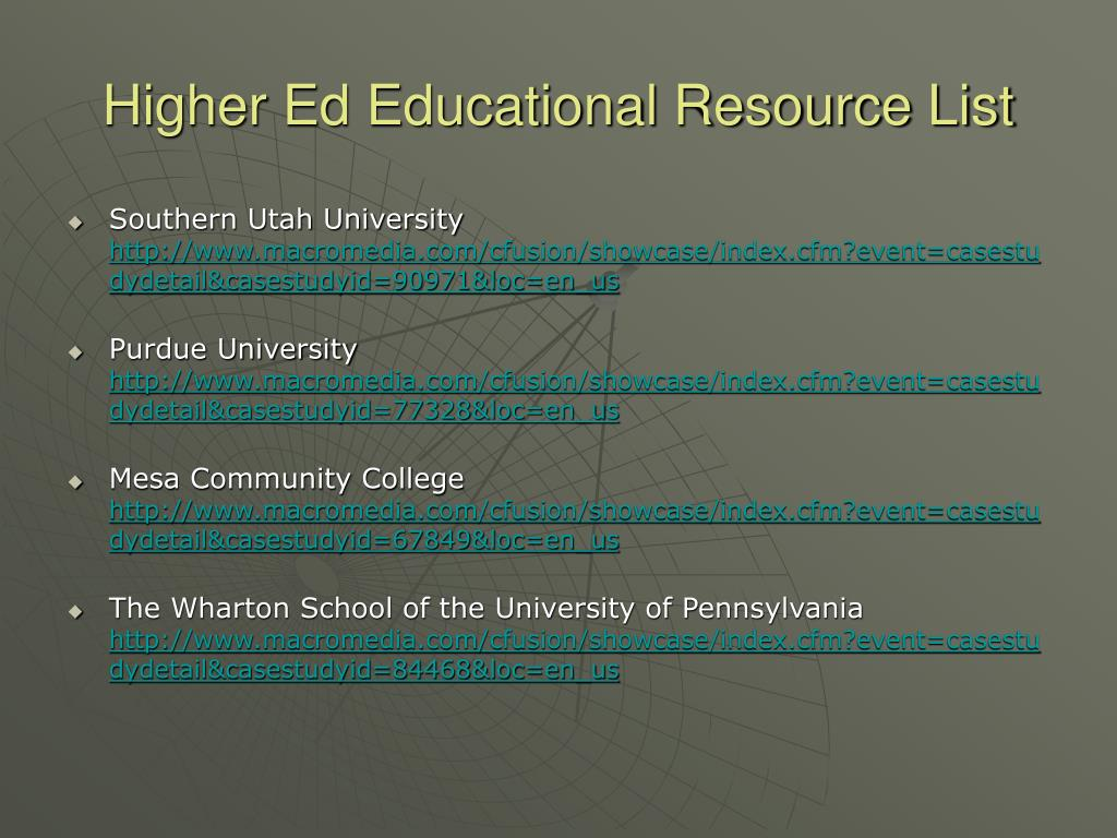 Higher Ed Educational Resource List