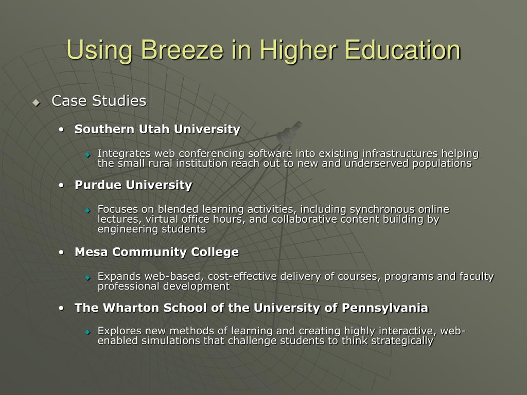 Using Breeze in Higher Education