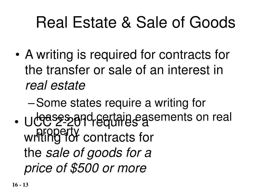 Real Estate & Sale of Goods