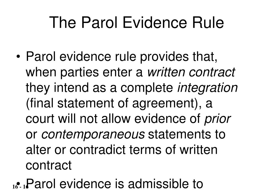 The Parol Evidence Rule