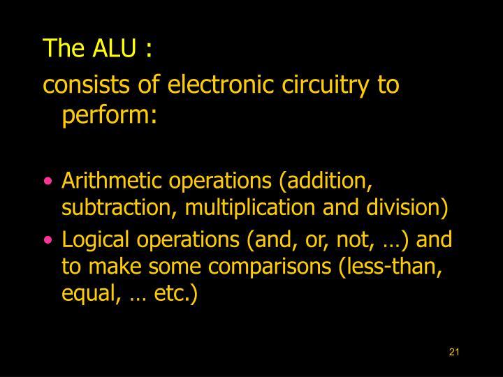 The ALU :
