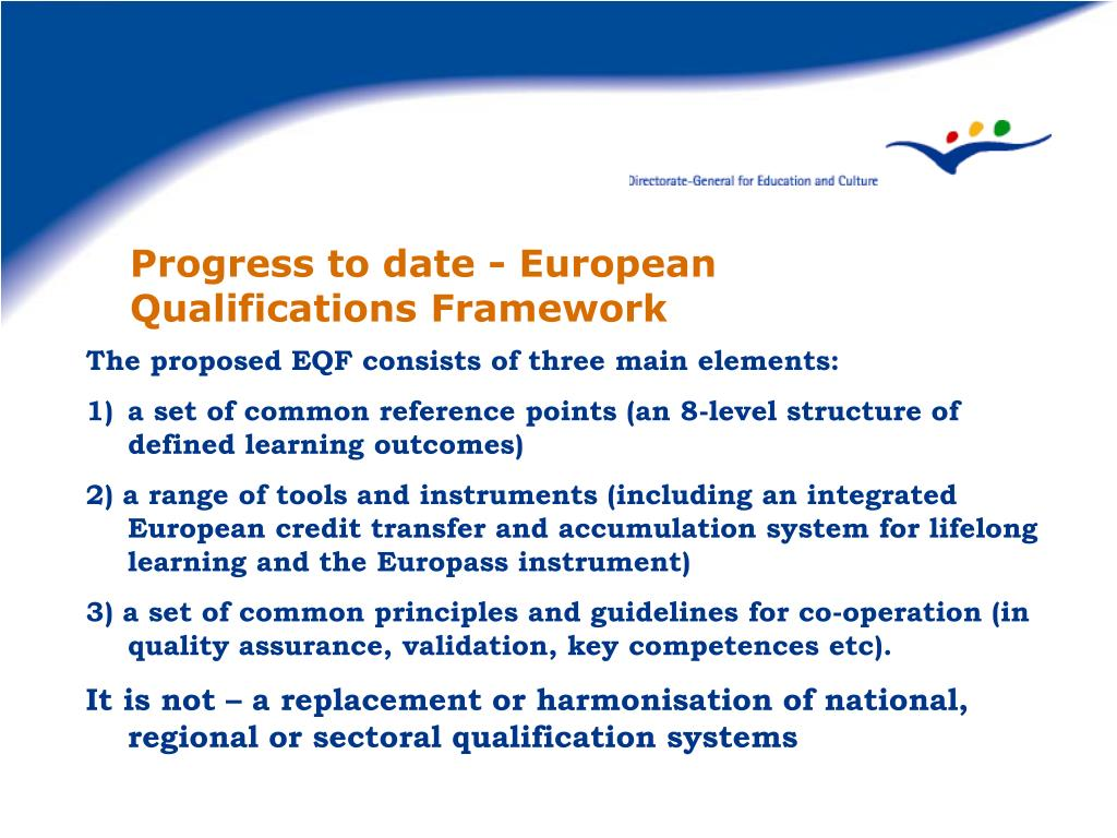 Progress to date - European Qualifications Framework