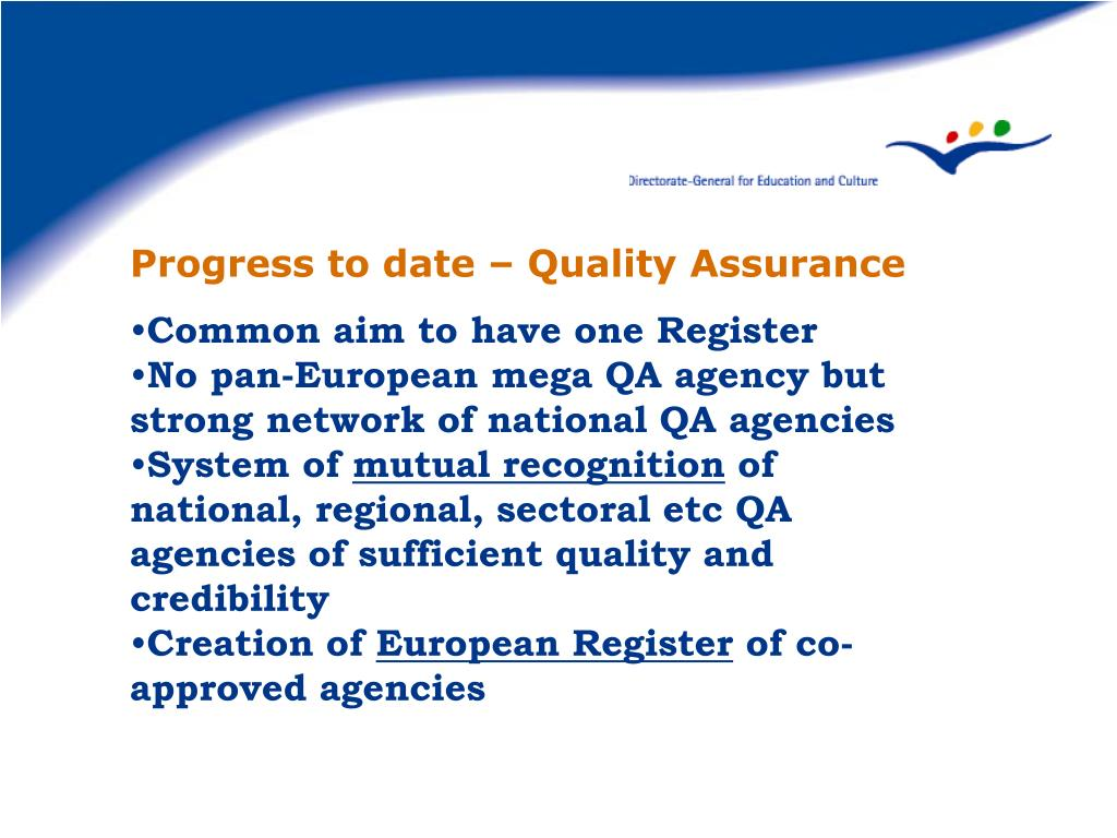 Progress to date – Quality Assurance