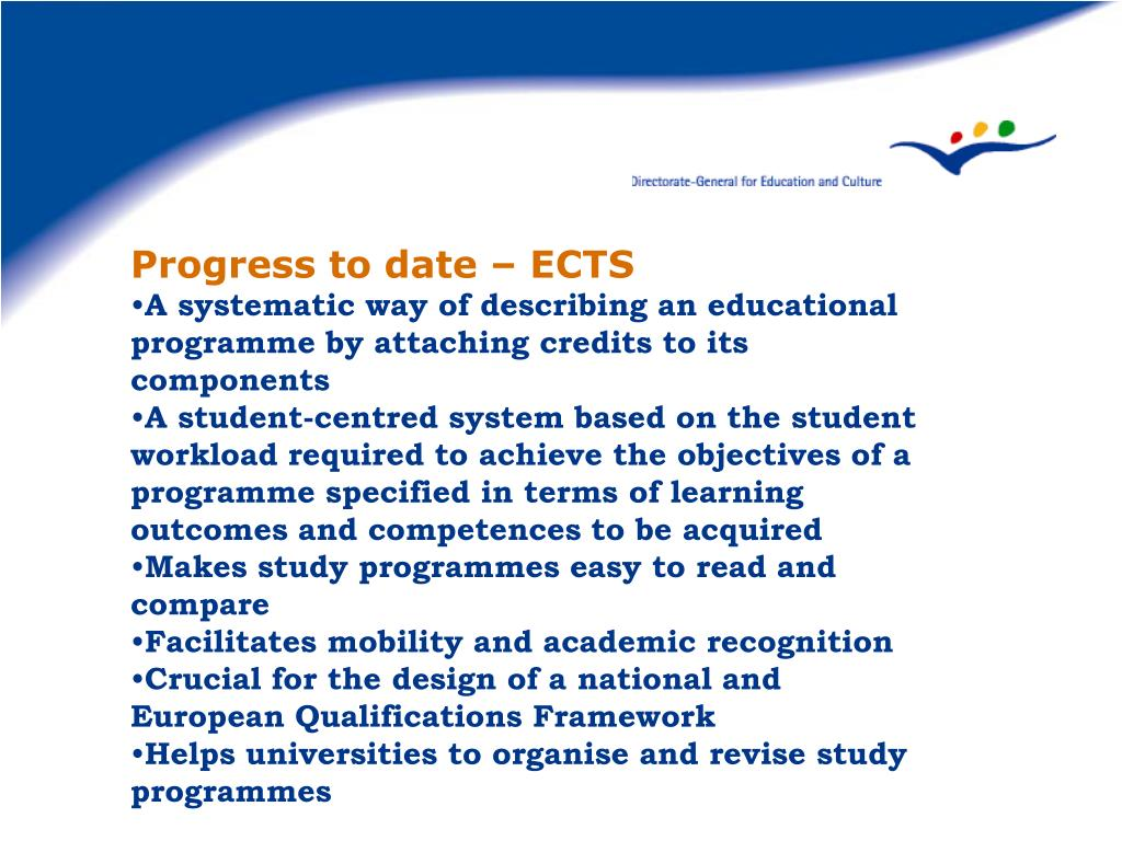 Progress to date – ECTS