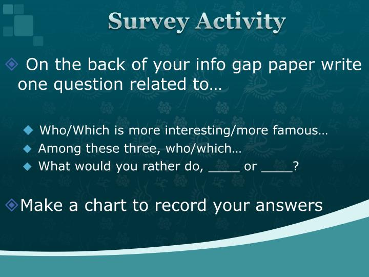 Survey Activity