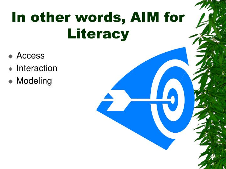 In other words, AIM for Literacy