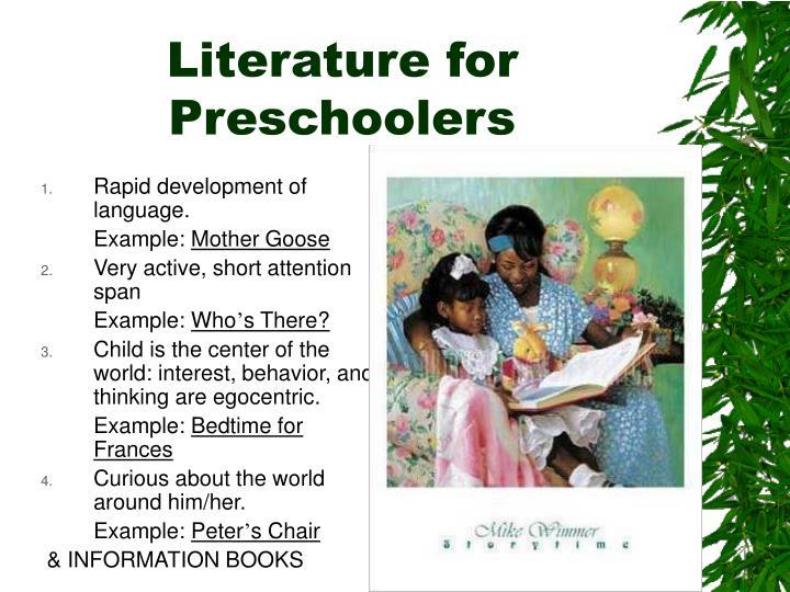 Literature for Preschoolers