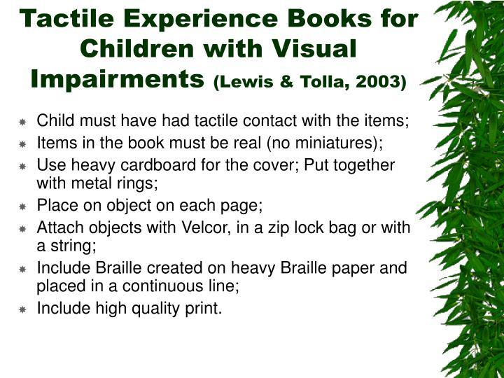 Tactile Experience Books for Children with Visual Impairments