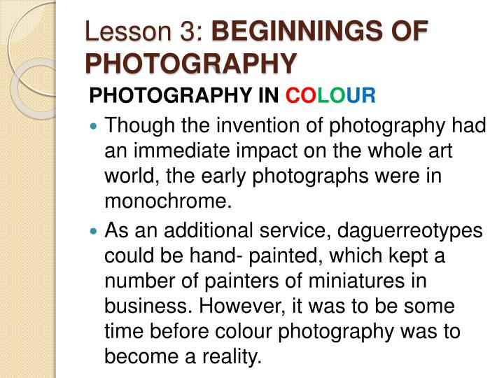 Lesson 3 beginnings of photography1