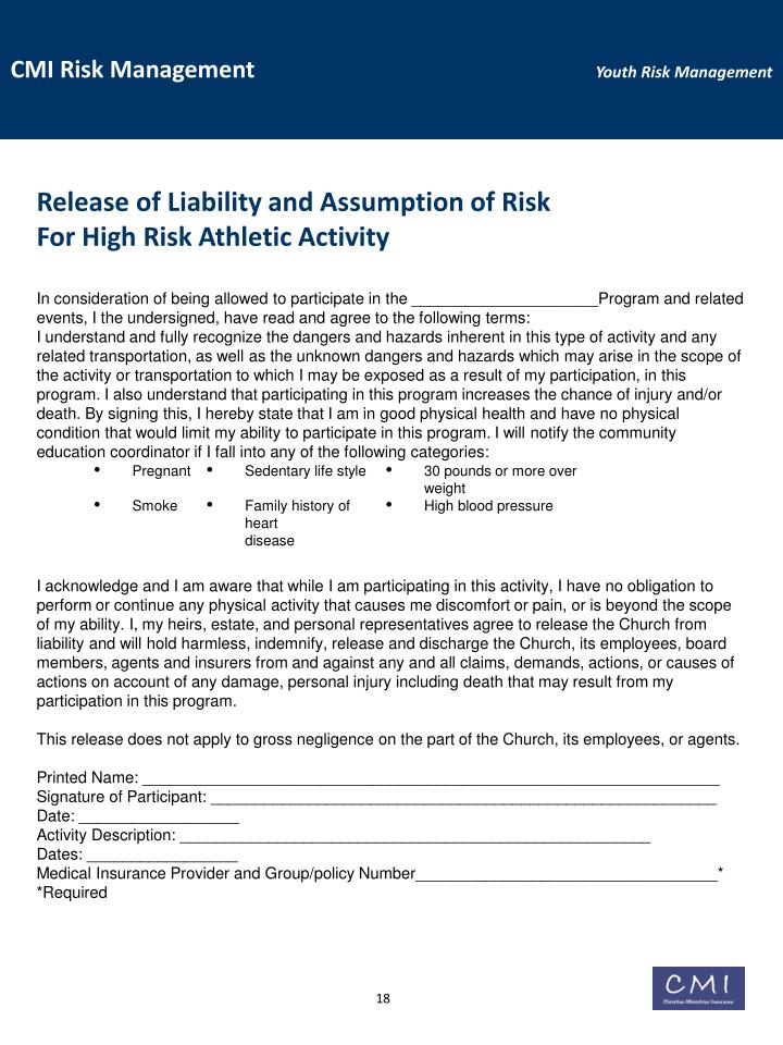 Release of Liability and Assumption of Risk