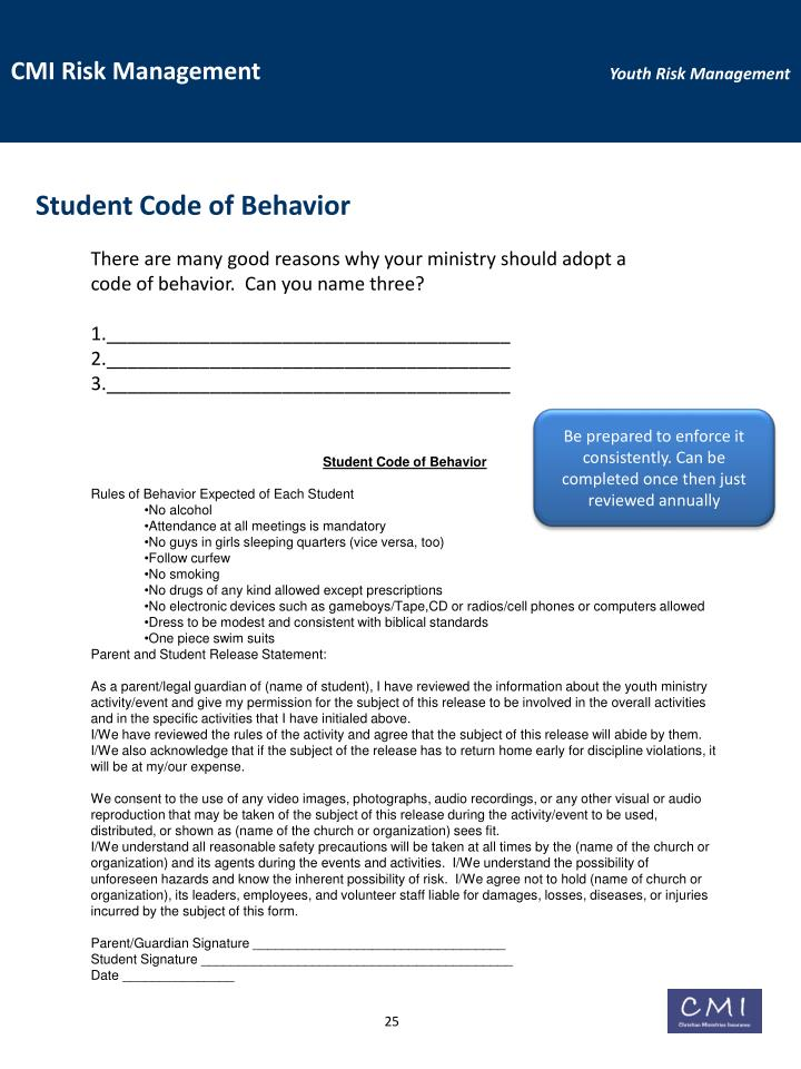 Student Code of Behavior