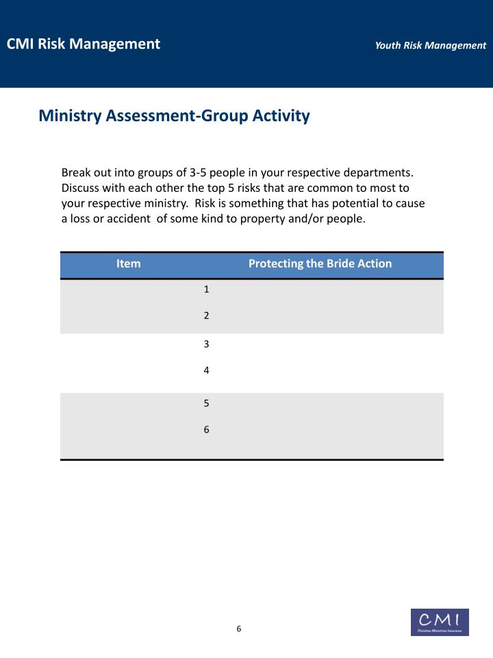 Ministry Assessment-Group Activity