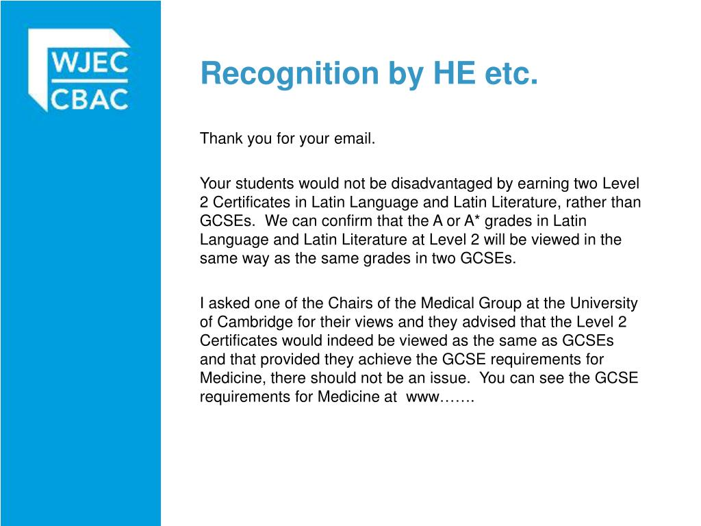 Recognition by HE etc.