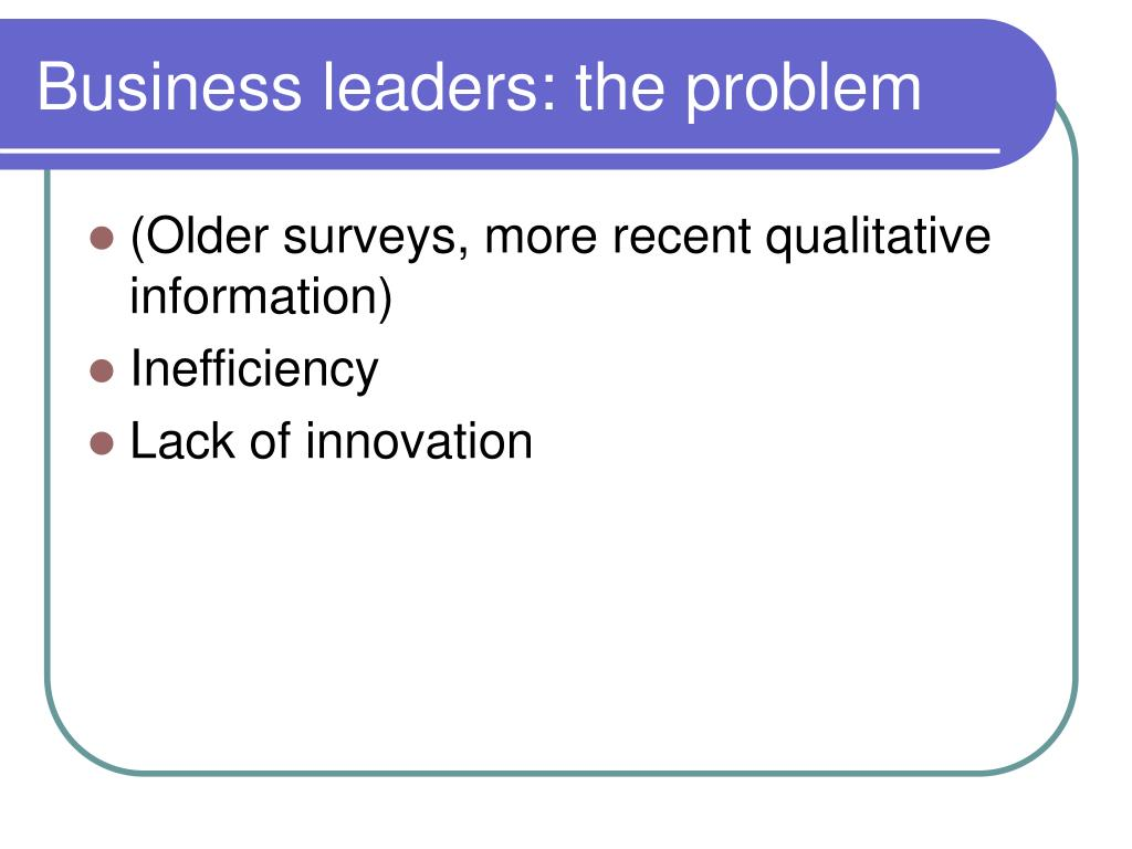 Business leaders: the problem