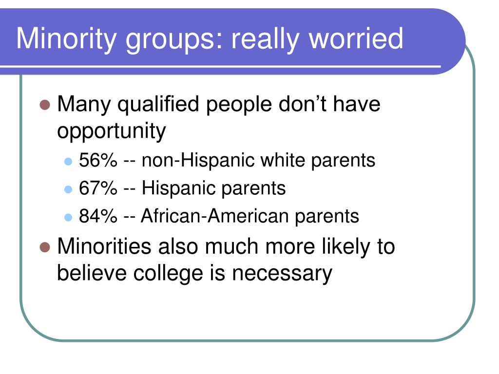 Minority groups: really worried
