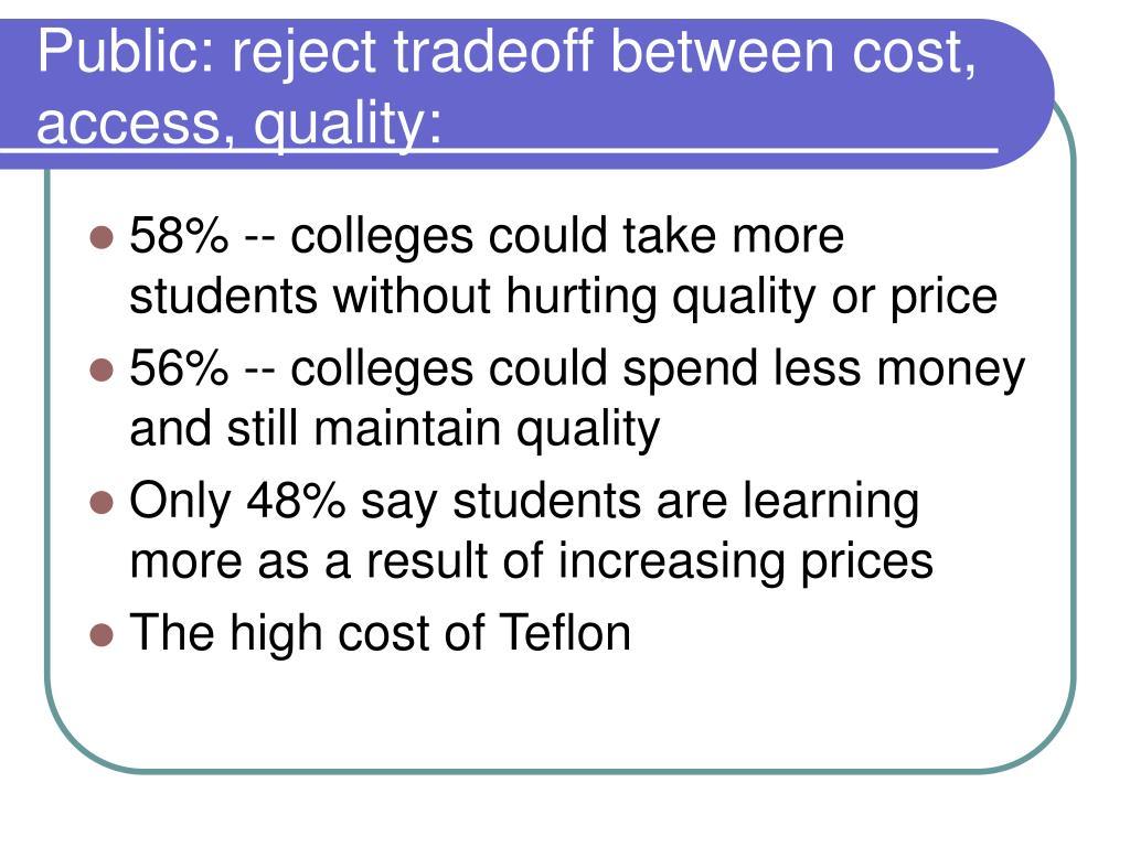 Public: reject tradeoff between cost, access, quality: