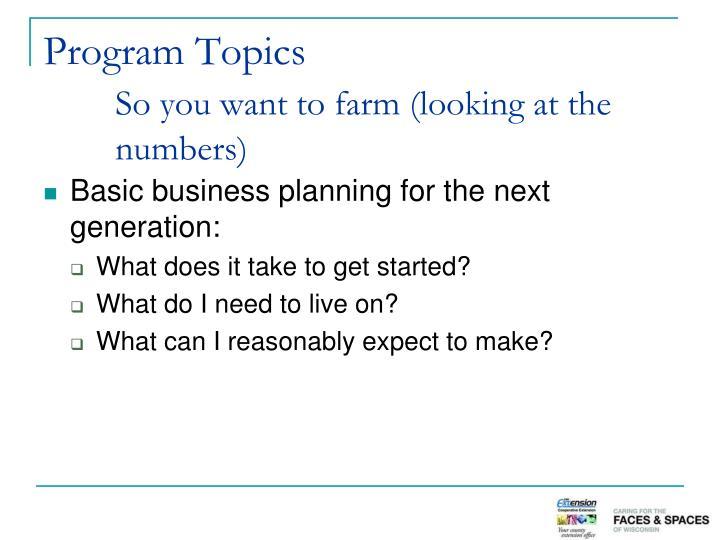 Program Topics