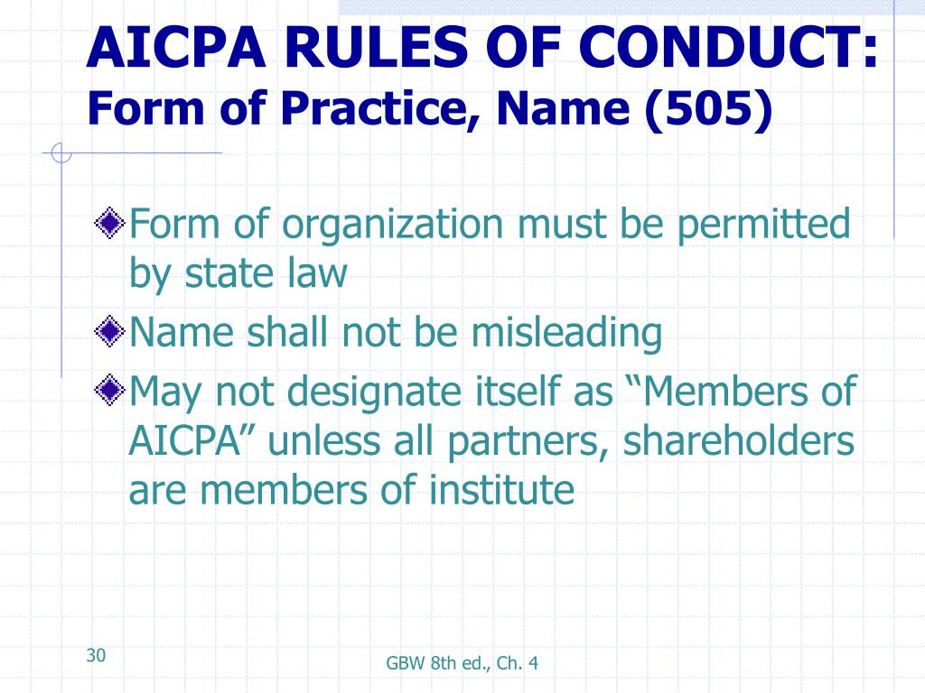 AICPA RULES OF CONDUCT: