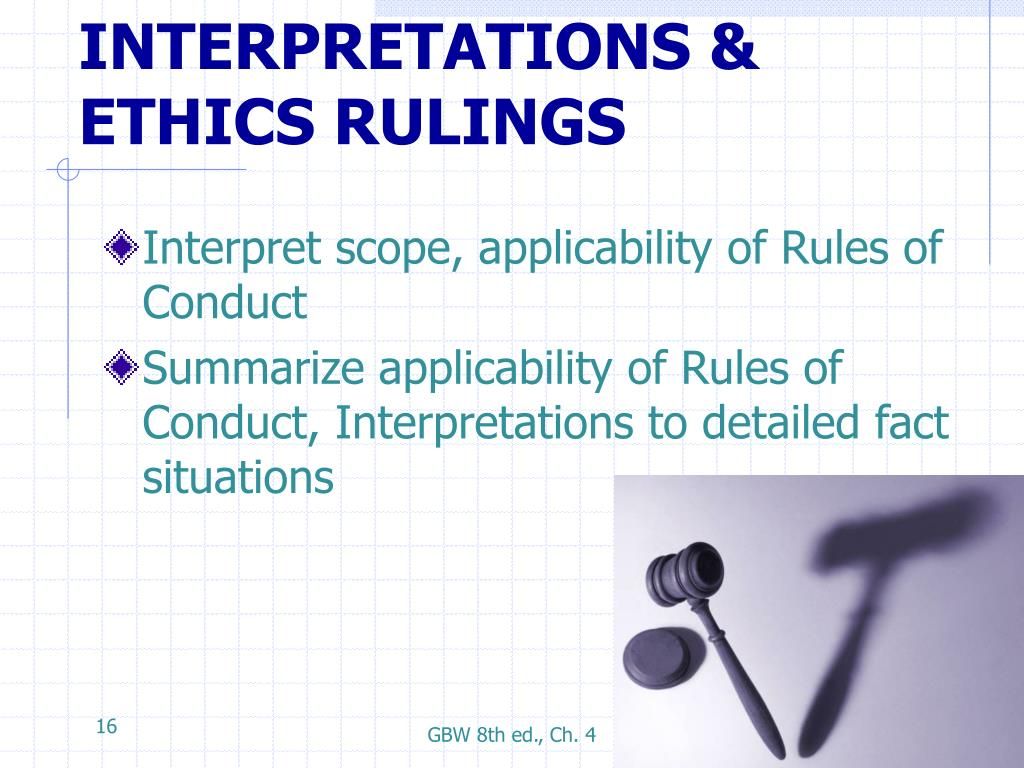 INTERPRETATIONS & ETHICS RULINGS