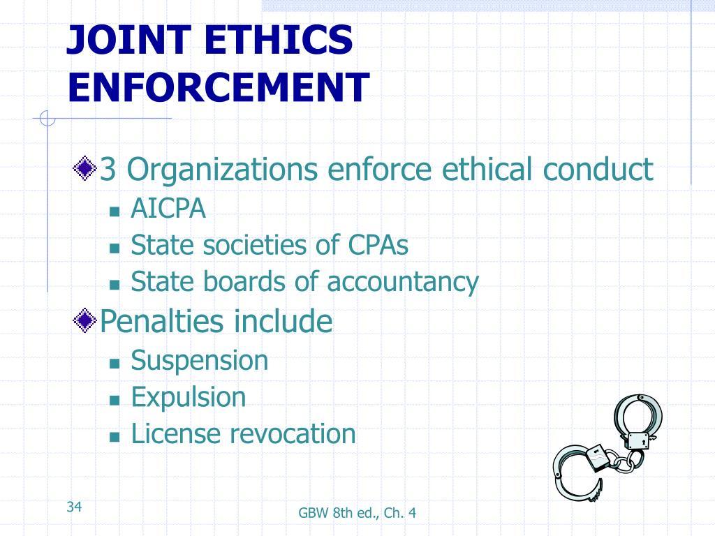 JOINT ETHICS ENFORCEMENT