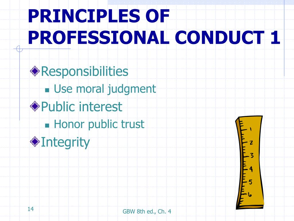 PRINCIPLES OF PROFESSIONAL CONDUCT 1