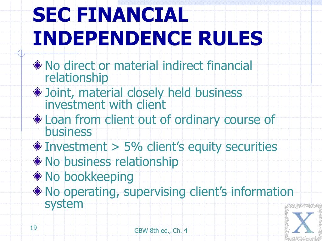 SEC FINANCIAL INDEPENDENCE RULES