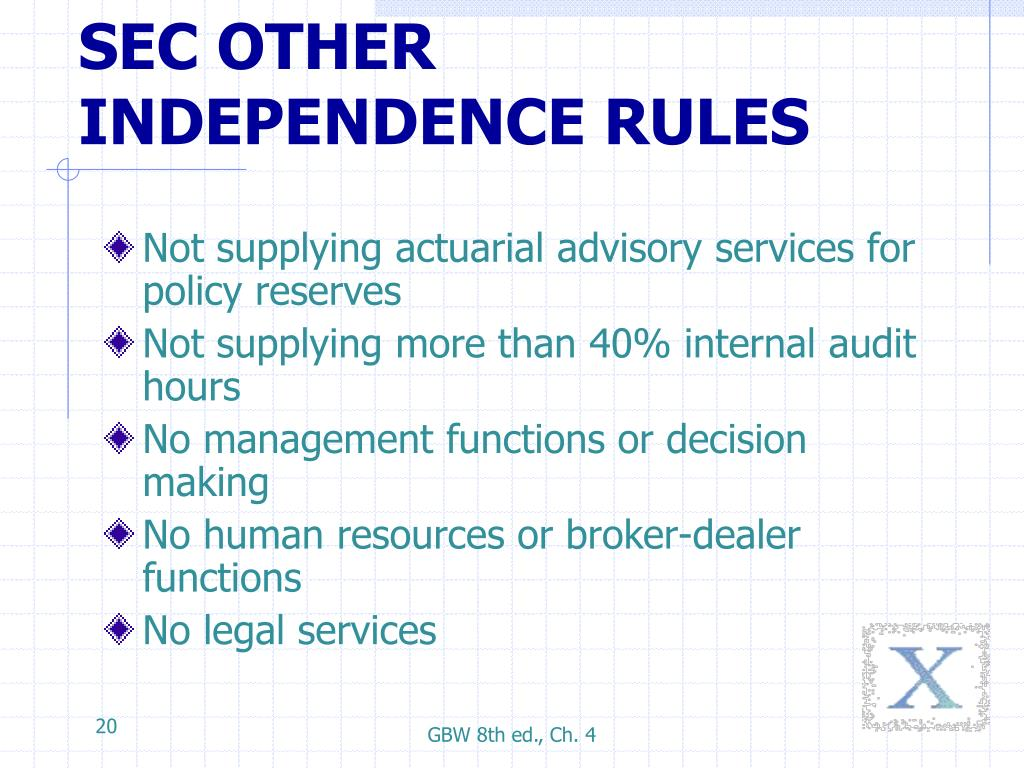 SEC OTHER INDEPENDENCE RULES