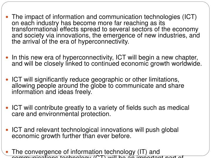 The impact of information and communication technologies (